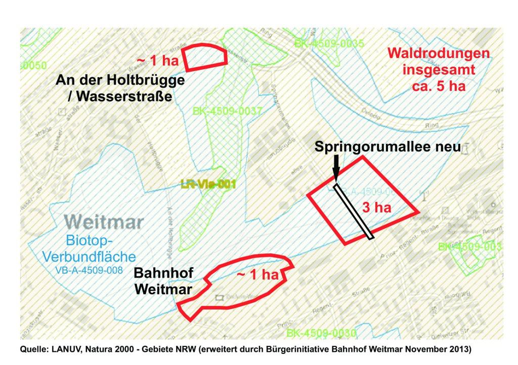 Quelle: LANUV - Rodungsflächen eingefügt durch BI Bhf Weitmar gemäß vorliegender bzw. geplanter Bebauungspläne und dem Wohnbaulandkonzept